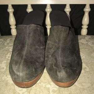 Worn once, Colin Stuart Suede Brown Heeled Mules.